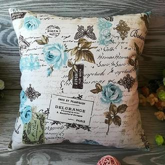 Подушка диванная голубые розы