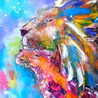 Картина маслом. Львы, любовь и звезды. Холст на подрамнике. 40х50 см