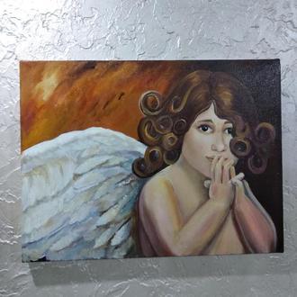 """Картина маслом """"Маленький ангел"""" размер 30х40см"""