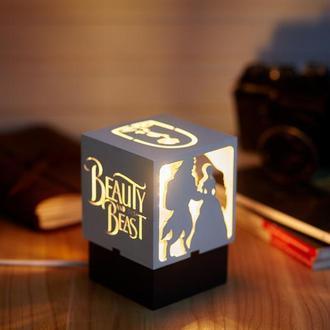 """Дерев'яний нічний світильник з лампою Едісона """"Красуня та Чудовисько"""""""