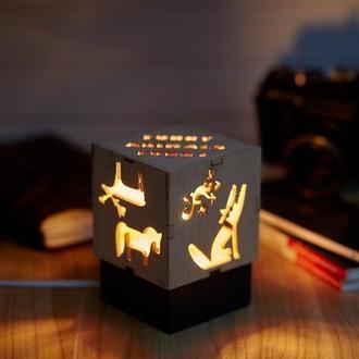 """Дерев'яний нічний світильник з лампою Едісона """"Веселі тваринки"""""""