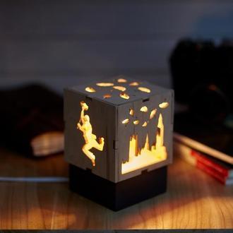 """Дерев'яний нічний світильник з лампою Едісона """"Мері Попінс"""""""