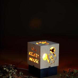 """Дерев'яний нічний світильник з лампою Едісона """"Мікі Маус"""""""