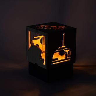 Дерев'яний нічний світильник з лампою Едісона