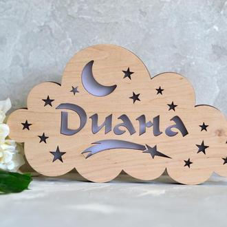 Ночник из дерева девочке в детскую комнату - Диана
