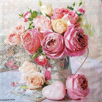 Салфетка Розы в кувшине 2-7196