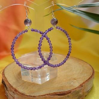 Серебряные серьги-кольца из аметиста ′Виола′