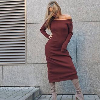 Коричневое платье миди, хлопковый трикотаж резинка, рибана, рубчик, сексуальное платье