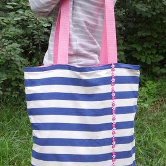 Сумка текстильная полосатая Сумка велика Сумка смугаста Сумка у синю смугу Сумка синьо-біла