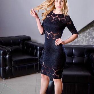 Платье футляр с конструктивными линиями К0016