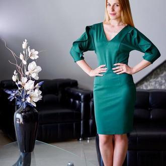 Платье с декоративными воланами по рукавам К0047