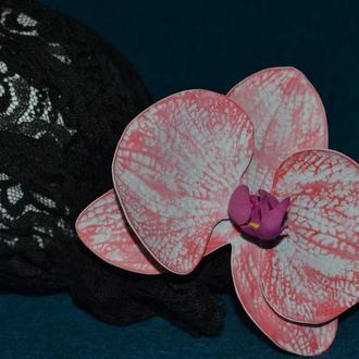 Заколка для волос орхидея, ручная работа