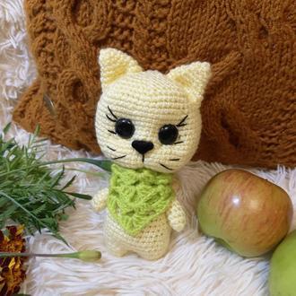 Мягкая игрушка вязаный котик, кот амигуруми