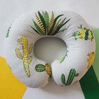 Двухсторонняя подушка для путешествий, дорожная подушка, в дорогу из плюша и хлопка - кактусы