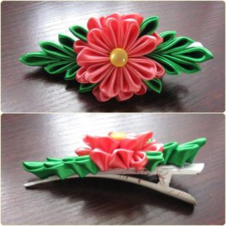 шпилька (рожево-зелена)