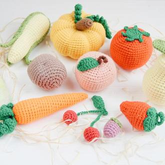 Подарунок на день народження дитини набір в'язаних овочів та фруктів