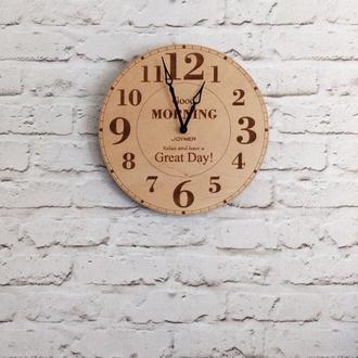 Деревянные настенные часы Good morning