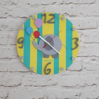 Детские деревянные настенные часы Слон желтые