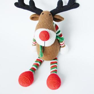 Подарунок  на день народження хлопчика чи дівчинки велика в'язана іграшка лось, олень