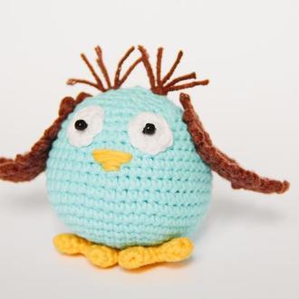 Подарок для ребенка вязаная игрушка Сова