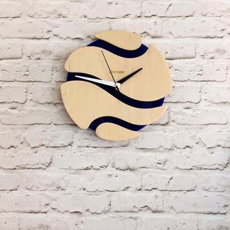 Деревянные настенные часы Шар синий
