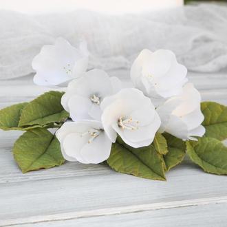 Шпильки c цветами яблони 5шт, Украшения для волос, Белые цветы в прическу