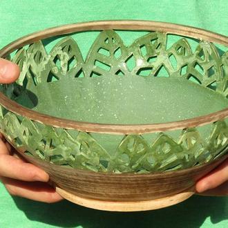 """Ажурная керамическая тарелка """"Зеленые листья"""""""