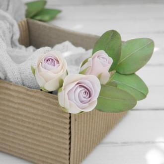 Шпильки с цветами Poзы и листьями эвкалипта, Цветы в прическу невесты