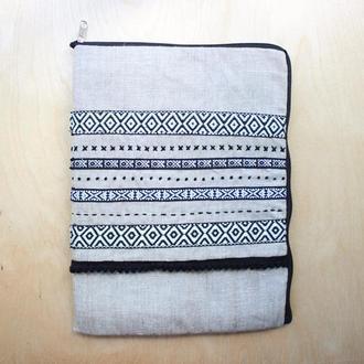 Льняной чехол в стиле бохо для планшета или ноутбука