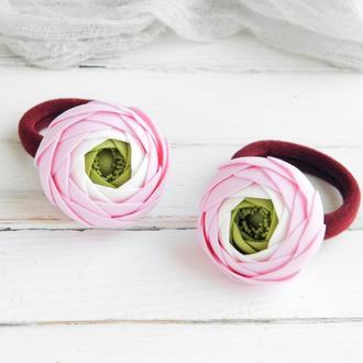 Резинки для волос Лютики / Красивые резинки с цветами для девочки в подарок