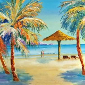 """Картина маслом, пейзаж """"На острове Тайланда"""" 40 х 30 голубой оранжевый"""