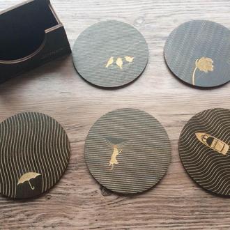 Костеры (подставки по чашки/кружки/бокалы) с полосатой гравировкой