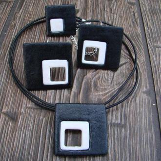 Комплект черно-белые квадраты