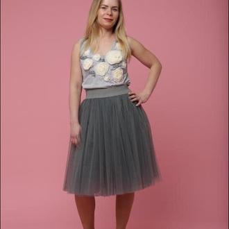 Пышная юбка из евросетки Yaskrava цвет темно-серый