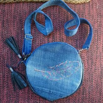 Сумка-таблетка с кожаными вставками_сумка кроссбоди с вышивкой_клатч через плечо