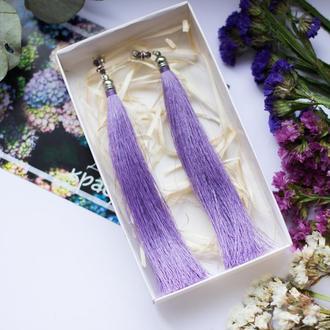 Фіолетові сережки китиці (серьги кисти)