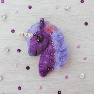 """Магнит """" Фиолетовый единорог"""""""