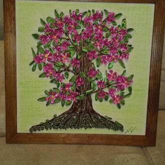 """Картина вышитая атласными лентами, """"Дерево счастья"""""""