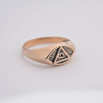 Кольцо печатка Всевидящее око или лучезарная дельта — масонский символ