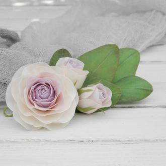 Гребень для волос с розами и эвкалиптом, Цветы в прическу невесте