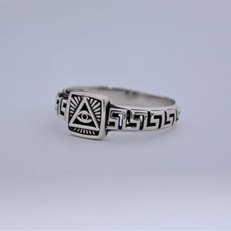 Кольцо печатка Всевидящее око или лучи творца — масонский символ серебро 925