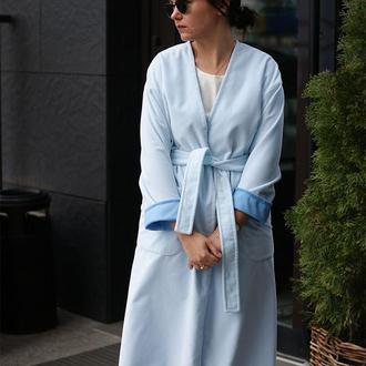 Женское бархатное пальто весна 2019, женское пальто голубое
