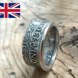 Кольцо из монеты 1\2 кроны Великобритании (Серебро 500)