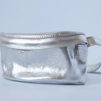 Стильная сумка на пояс (серебро) из натуральной кожи