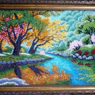 """Картина вышитая бисером """"Осень у реки"""""""