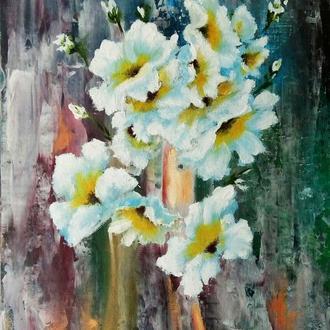 "Картина-миниатюра цветы ""Цветочная фантазия"" на подставке-мольберте,18 х 24"