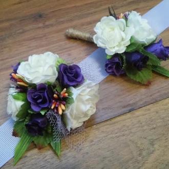 Комплект бутоньерок для свидетелей Бутоньерка для жениха  Бутоньерка на руку