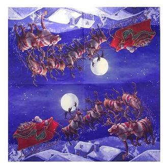 Салфетка Санта в небе 33х33 см 2-0681