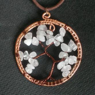 """Кулон """"Древо жизни (сакура)"""" с розовым кварцем в технике Wire Wrap"""