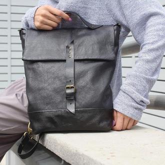 Черный кожаный рюкзак - трансформер